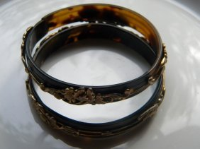 Pair Of Antique Chinese Tortoise Shell Bracelets