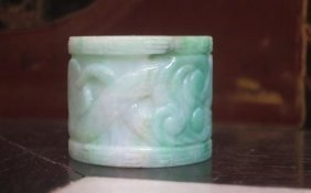 Carved Antique Jadeite Archer's Ring