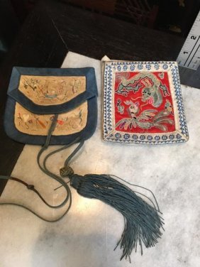 Antique Chinese Embroidered Pouches 19th C.