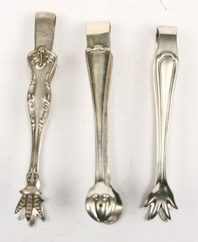 Collection Of 3 R.R. Marked Sugar Tongs For B&O, R