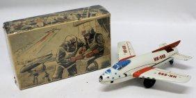 Rare 1955 Tin Friction Hk-555 Jet Airplane By Huki, Us