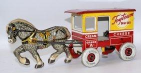 """40's Marx Tin Wind-up Toytown Dairy """"new Milk Wagon &"""