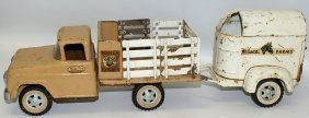 1959 #35 Tonka Farms Stake Truck And Horse Trailer
