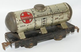 O Tin Marx #553 Santa Fe Middle States Oil Tank Train