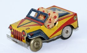 Tin Friction Jeep With Terrier Dog Image On Trunk, Made