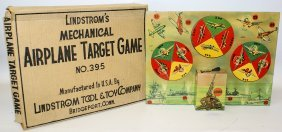 Wind-up Tin Lindstrom's Mechanical Airplane Target Game