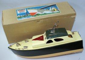 Wooden B.o. Cabin Cruiser Model Boat In Original Box By