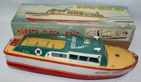 Tin B.o. Harbor-queen Cabin Cruiser Boat, Modern Toys