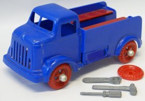 1951 Ideal Blue / Red Plastic Fix-it Truck With 3