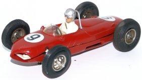 Red #9 Ferrari Race Car With Driver Slot Car Racer