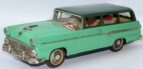 Rare Tin Friction Green Ford Custom Ranch Station