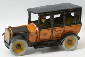 Tin Wind-up Yell-o-taxi Cab Car With Driver, By