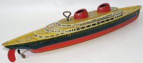"Tin Wind-up Clockwork Wolverine 12"" Ship Boat"