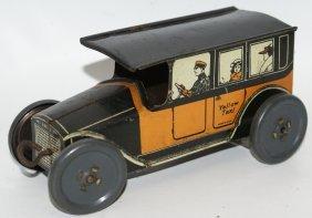 Rare Tin Clockwork Wind-up Yellow Taxi Cab, Mohawk Toys