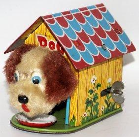 50's Original Tin Wind-up Mechanical Dog In Dog House
