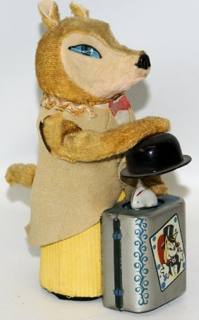 50's Mechanical Wind-up Fox The Magician With Rabbit In