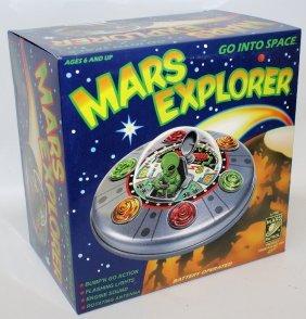 1998 B.o. Mars Explorer Tin Spaceship Alien Toy, Mint