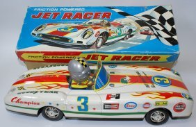 Rare Tin Friction Jet Racer #3 International Racing