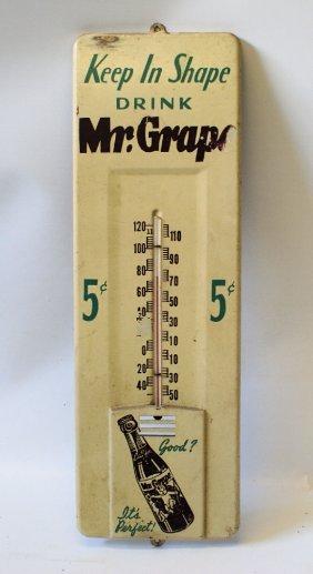 Rare Original Mr Grape Soda Advertising Tin Thermometer