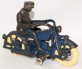 Ac Williams Cast Iron Blue Motorcycle Police Cop