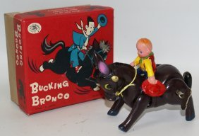 Wind-up Celluloid Bucking Bronco Toy, By Modern Toys