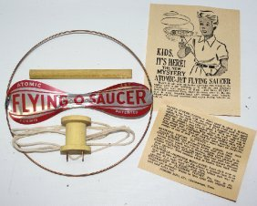 50's Atomic Jet Tin Flying Saucer Helicopter Gyro Toy