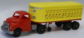 Plastic Hubley Kiddie Toy Farm Truck And Livestock