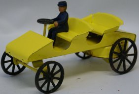 Rare Kingsbury Wind-up Yellow Touring Car With Original