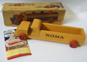 40's Noma Woodies Orange Wooden Truck In Original Box