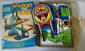 1970's Walt Disney Mickey Mouse Loop The Loop Playset