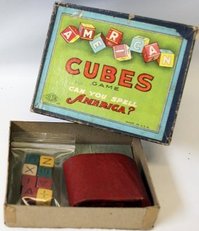 1930's American Cubes Letter Word Dice Game By Wilder