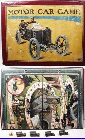 Antique Motor Car Board Game #19/125 E, Made In Bavaria