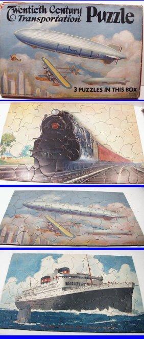 Rare! 20th Twentieth Century Transportation Puzzle Set,