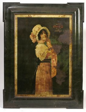 ORIGINAL 1914 COCA-COLA BETTY TIN SIGN