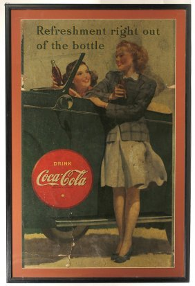 LARGE 1942 COCA-COLA CARDBOARD SIGN