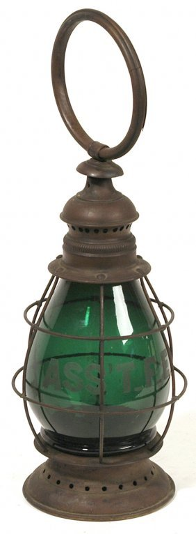 EARLY FIREMAN'S LANTERN WITH GREEN GLOBE
