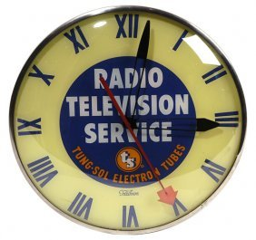 RADIO TELEVISION TUBES ADVERTISING CLOCK