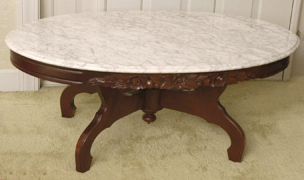 465 Victorian Style Oval Marble Top Coffee Table Lot 465