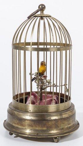 German Singing Bird In Brass Cage Automaton