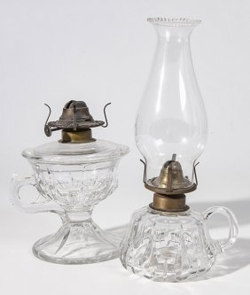 Two Pattern Glass Finger Lamps