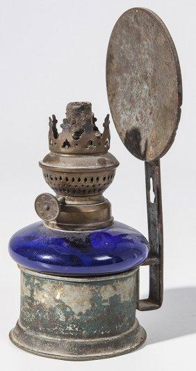 Cobalt Hanging Oil Lamp In Frame