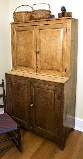 Hermann Missouri Curly Maple & Walnut Stepback Cupboard