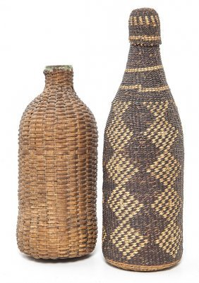 Two Basketry Covered Bottles