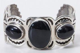 Navajo Silver & Black Onyx Cuff Bracelet