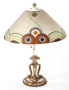 Scarce Handel Reverse Painted Lamp