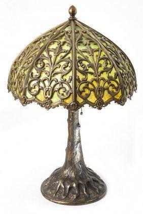 Large Bronze Overlay Slag Glass Lamp
