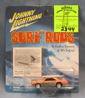 Vintage Johnny Lightning Hot Rod Car With Surf Boards