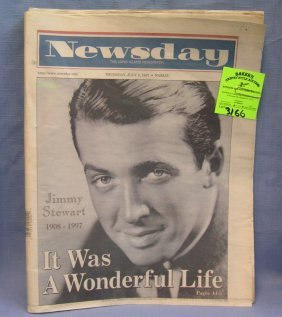 Vintage Jimmy Stewart Newspaper