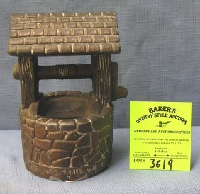 Vintage Cast Metal Copper Tone Wishing Well Bank