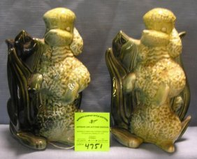 Pair Of Early Hand Painted Art Pottery Poodle Shaped